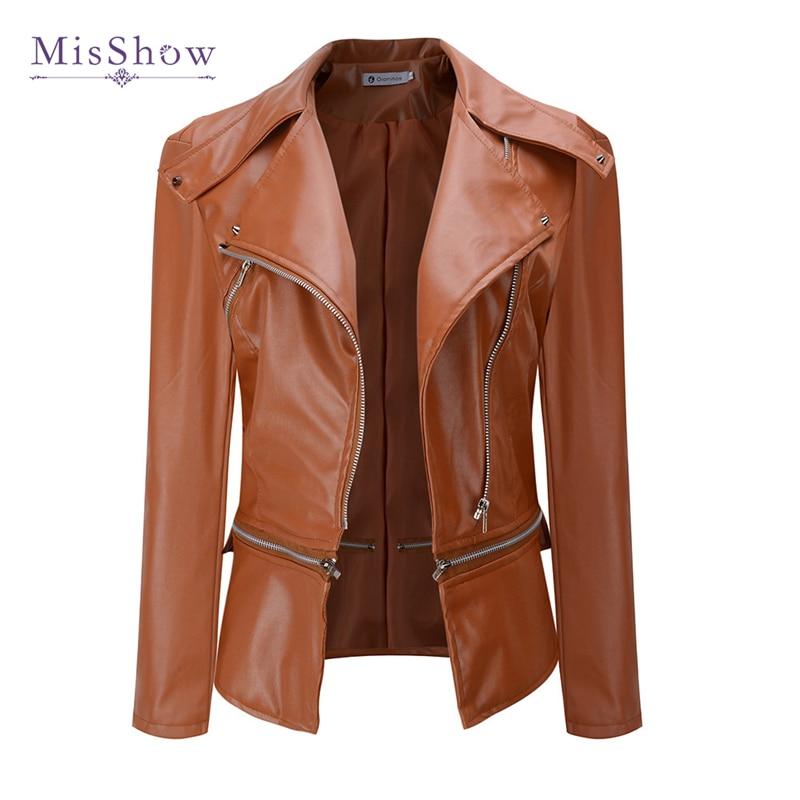 2019 New PU Leather Women Autumn   Jacket   Turn-down Collar Ladies Moto Biker Zipper   Basic     Jacket   Coat Plus Size Outerwear