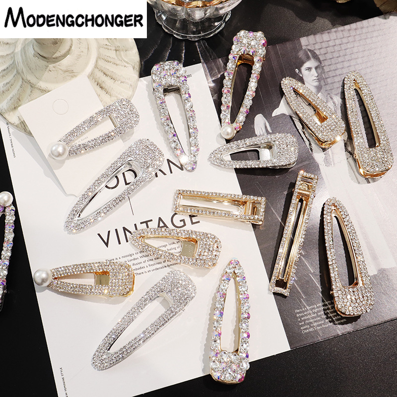 Fashion Hot Selling Hair Clips Super Flash Hairpins Full Rhinestone Pearl Barrettes For Women Girl Temperament Hair Accessories