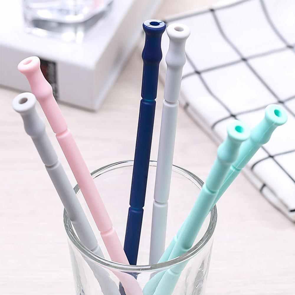 Herbruikbare Folding Inklapbare Siliconen Stro Rietje Met Draagtas En Reinigingsborstel Reizen Home Office Drink Tool