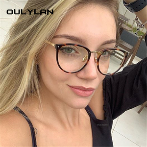 Oulylan Transparent Cat Eye Glasses Frames Women Fashionable Fake Eyeglasses Metal Optical Frame for Womens