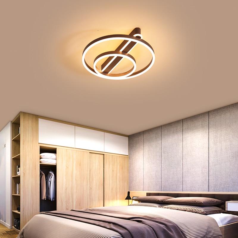 Brown/Gold Modern led chandeliers ceiling For living room Bed lights Chandelier lighting Round Aluminum modern chandelier
