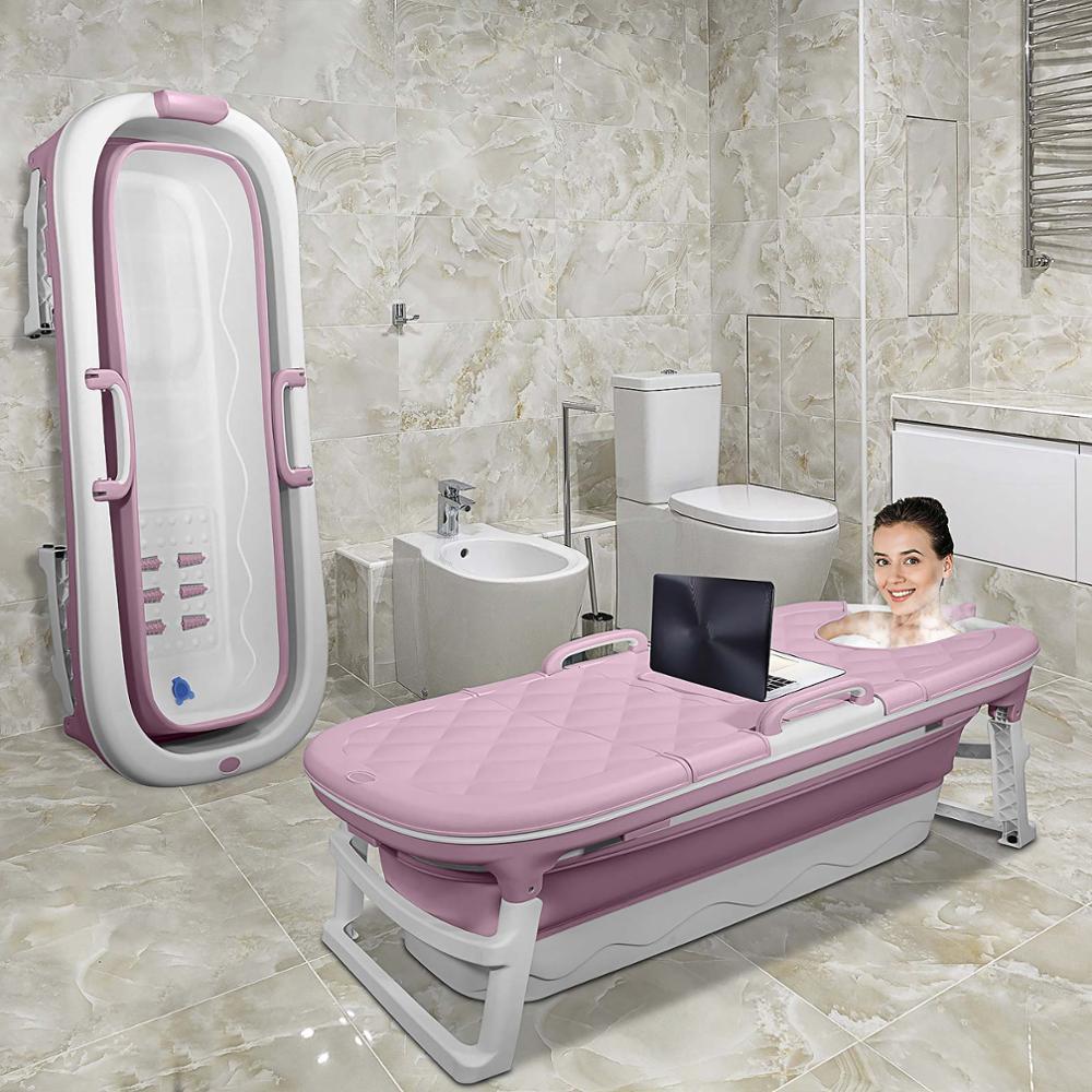 Large Portable Folding Bathtub 1.38m Adult Children's Folding Tub Massage Adult Bath Barrel With Cover