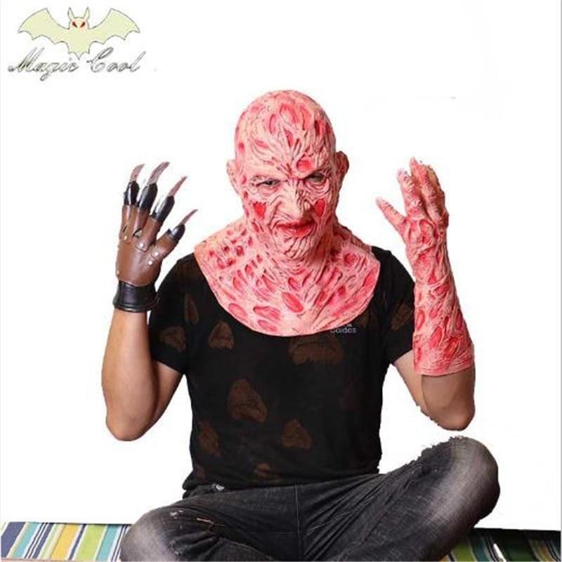 New Halloween Men Freddy Krueger Mask Gloves Wolverine Ghost Claw Gloves Fancy Dress Gloves Masquerade Show X-Men Cosplay Props