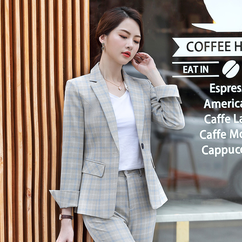 OL Professional Plaid Suit Women's Suit Spring And Autumn New Fashion Temperament Suit + Pencil Pants Ladies Overalls Two-piece