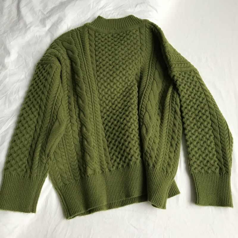 2019 invierno nuevo verde aguacate cuello en V retro twist suéter grueso grande mujeres cruzado de punto