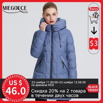 MIEGOFCE 2020 hiver femmes Collection veste chaude pour femme faite avec de vraies vestes d'hiver Bio coupe-vent col montant avec capuche 1