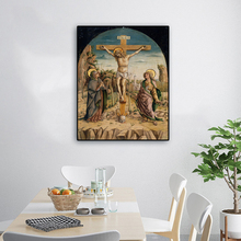 Laeacco Canvas Calligraphy Painting Retro Christian Crucifix Jesus Christianity Posters and Prints Living Room Church Decoration