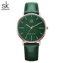 Shengke couro genuíno mulheres relógios de luxo marca quartzo relógio casual senhoras relógios feminino montre femme relogio feminino