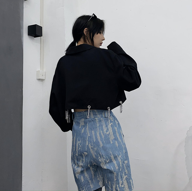 [EWQ] Spring Autumn 2021 Female Sashes Black Button Turn-down Collar Long-sleeved Blazer Coat Single Breasted Loose Blazer Top  4