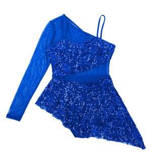 Image 5 - Vestido de lentejuelas brillantes para adultos, para gimnasia, leotardo, mujer, de manga larga, asimétrico, para Ballet, patinaje, baile lírico
