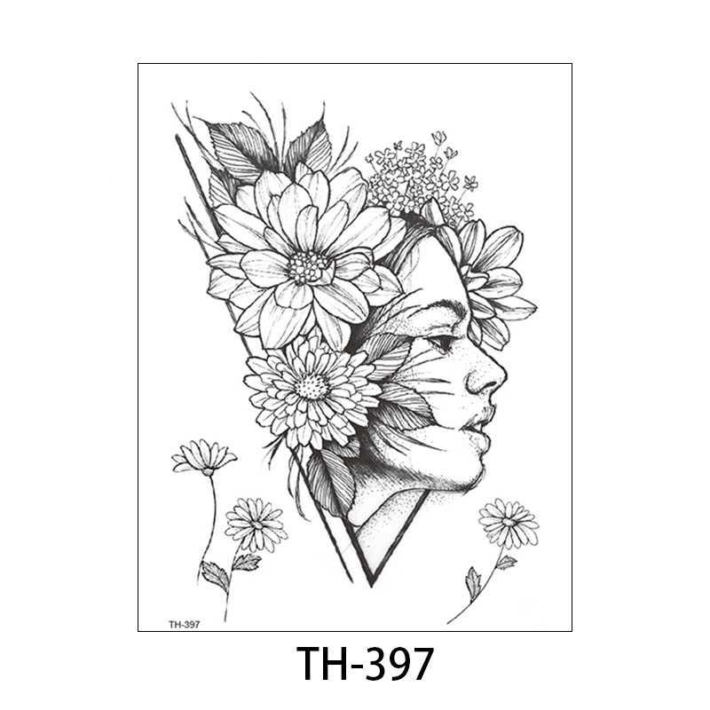 1 PCผู้หญิงแฟชั่นผู้หญิงชั่วคราวTATTOO Stickerสีดำกุหลาบออกแบบดอกไม้ARM Body ARTขนาดใหญ่ปลอมTATTOOสติกเกอร์