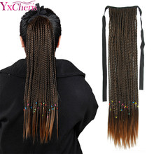 "YxCheris Synthetic Ponytail Straight Box Braid Clip In False Hair Pieces With Hairpins Pony Tail Hair Extensions 20"" 90g(China)"