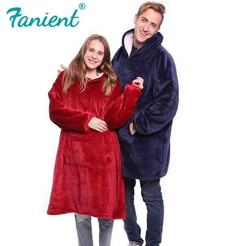 Winter Outdoor Hooded Pocket Blankets Warm Soft Hoodie Slant Robe Bathrobe Sweatshirt Pullover TV Fleece Blanket With Sleeves
