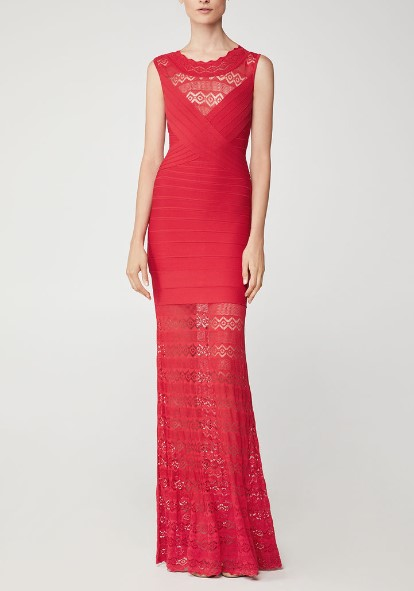 Top Quality Elegant Red Lace Long Cocktail Party Dress Fashion  Long Rayon Bandage Dresses Bodycon