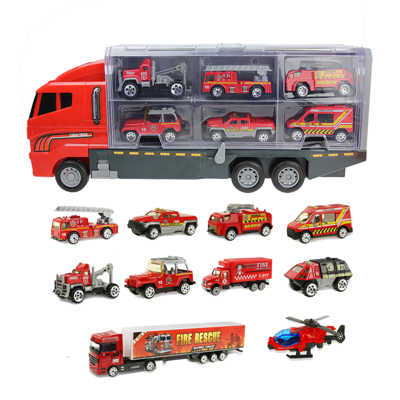 Alloy Fire Truck Toys Car Diecast Helicopter Container Truck Combination Vehicles Educational Toys For Children Boys Gift