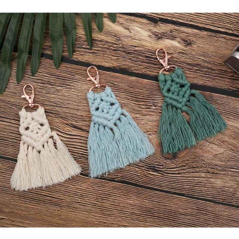 Chaveiro de borla para mulheres boho chave titular chaveiro saco de macrame charme carro pendurado jóias presente para amigos