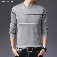AIRGRACIAS Pullover Men Brand Clothing 2019 Autumn New Slim fit Sweater Casual Striped Pull Sweaters SIZE M-4XL