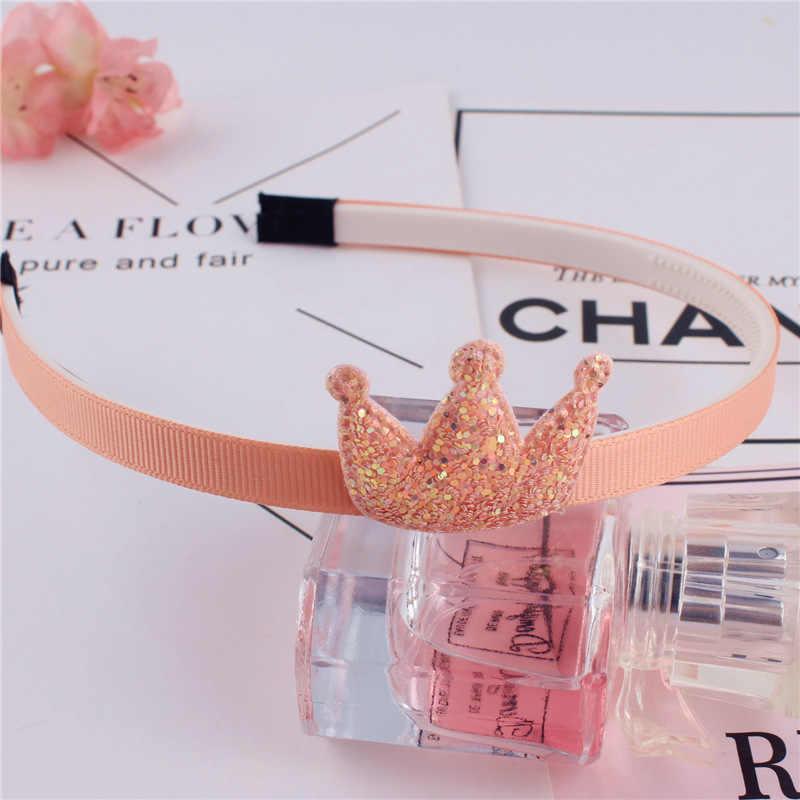 1PC เด็ก Headband Golden ของขวัญ Party เด็กสีชมพูมงกุฎหญิงเงินเลื่อม PU Handmade อุปกรณ์เสริมผม Hairband
