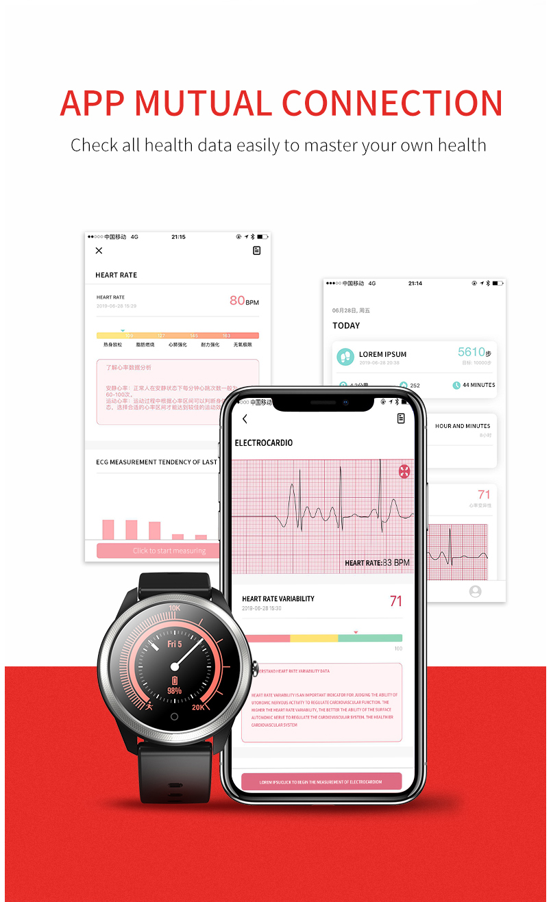 Smart watch sports waterproof F11 ECG + PPG App