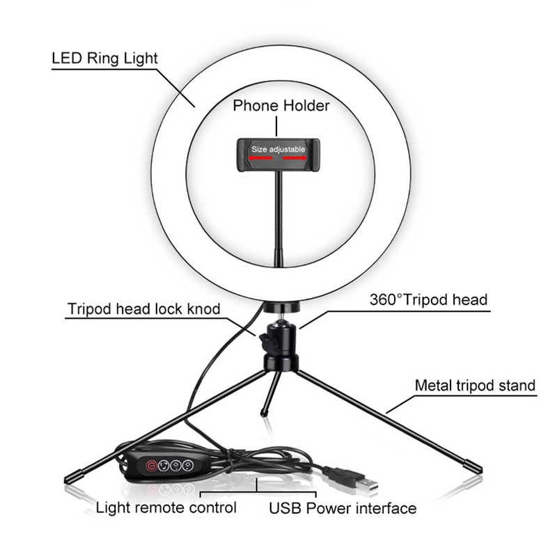 New Led Ring Flash Lights With Holder For iPhone Xiaomi Huawei Samsung Phones 3