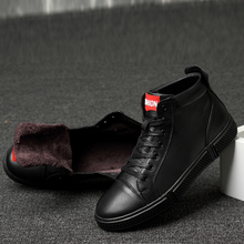 New Winter Genuine Leather Shoes Men Sneakers Cow L