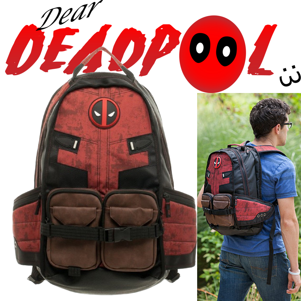 Deadpool School Bags Marvel Comics Deadpool Super Hero Movie Civil War Captain America Men's School Bag Travel Laptop Backpacks image