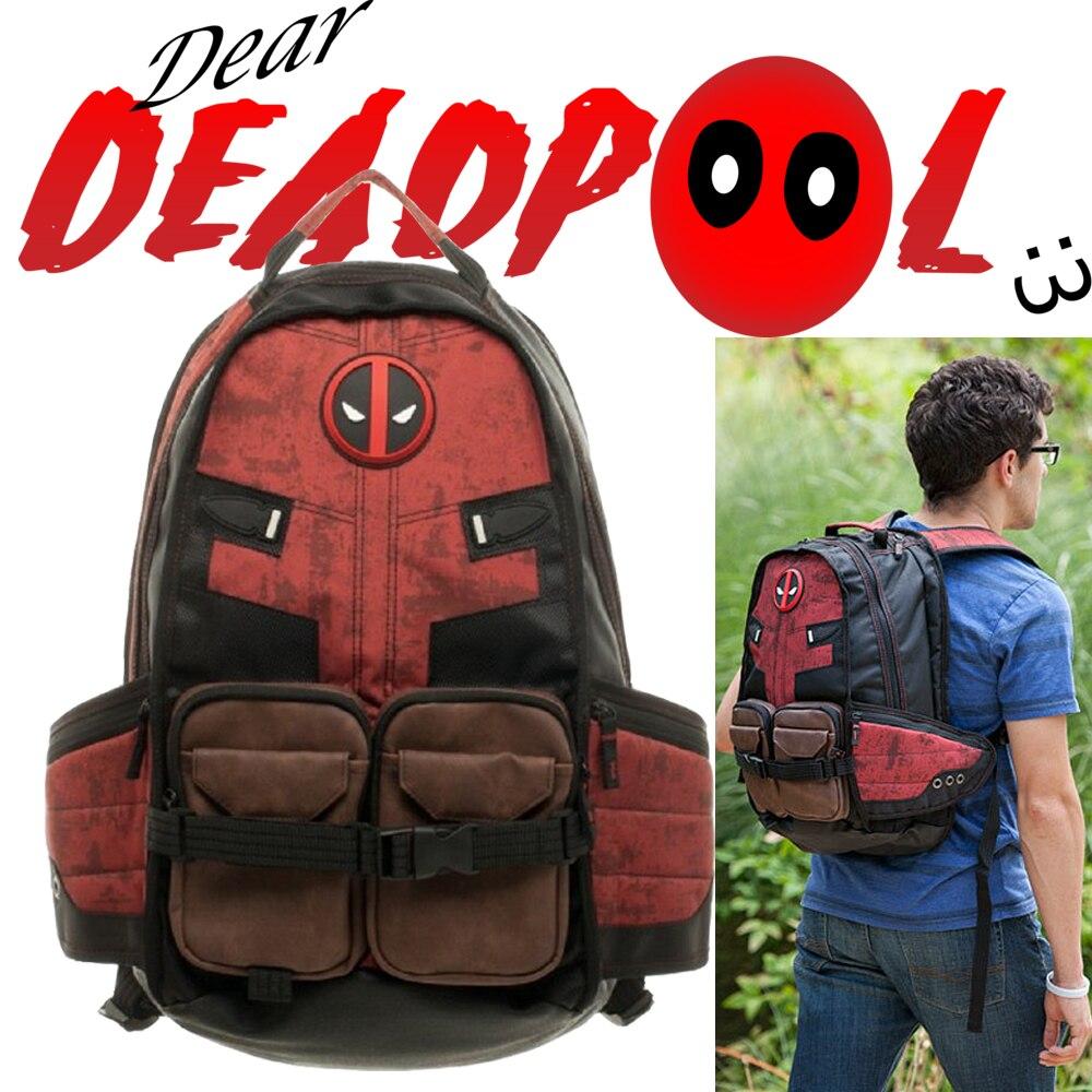 Mochila escolar Deadpool de Marvel Comics superhéroe película guerra Civil Capitán América mochila escolar de viaje para ordenador portátil