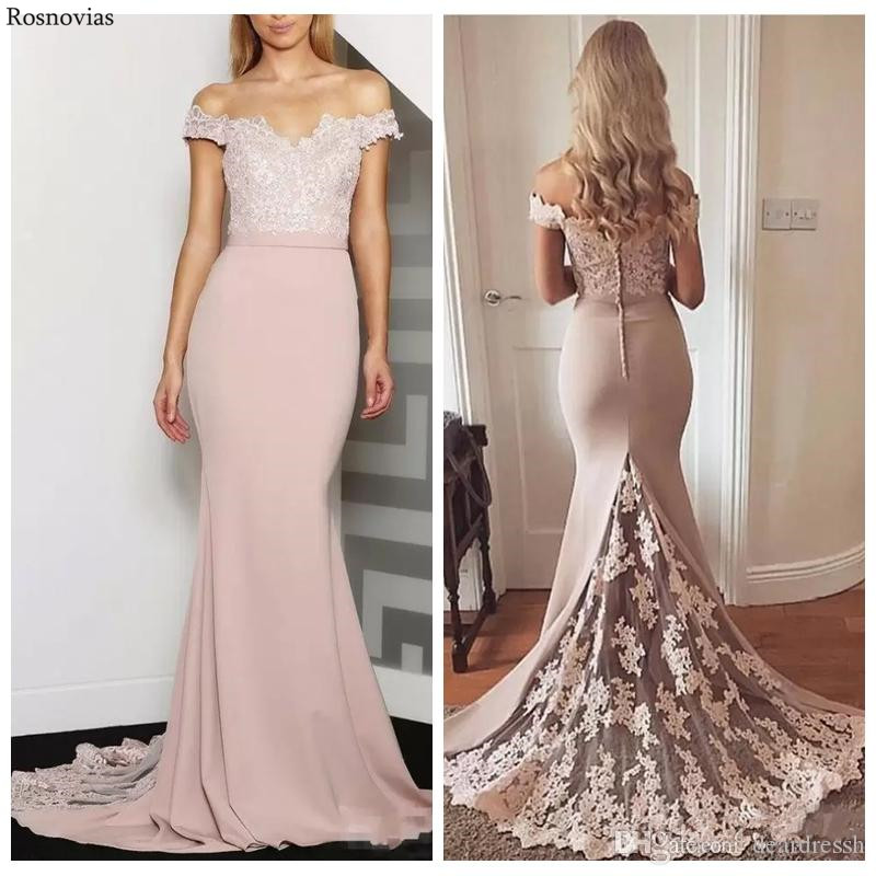 Long Off Shoulder Lace Mermaid   Bridesmaids     Dresses   2019 Backless Sweep Train Maid of Honor Wedding Guest Gowns Customized