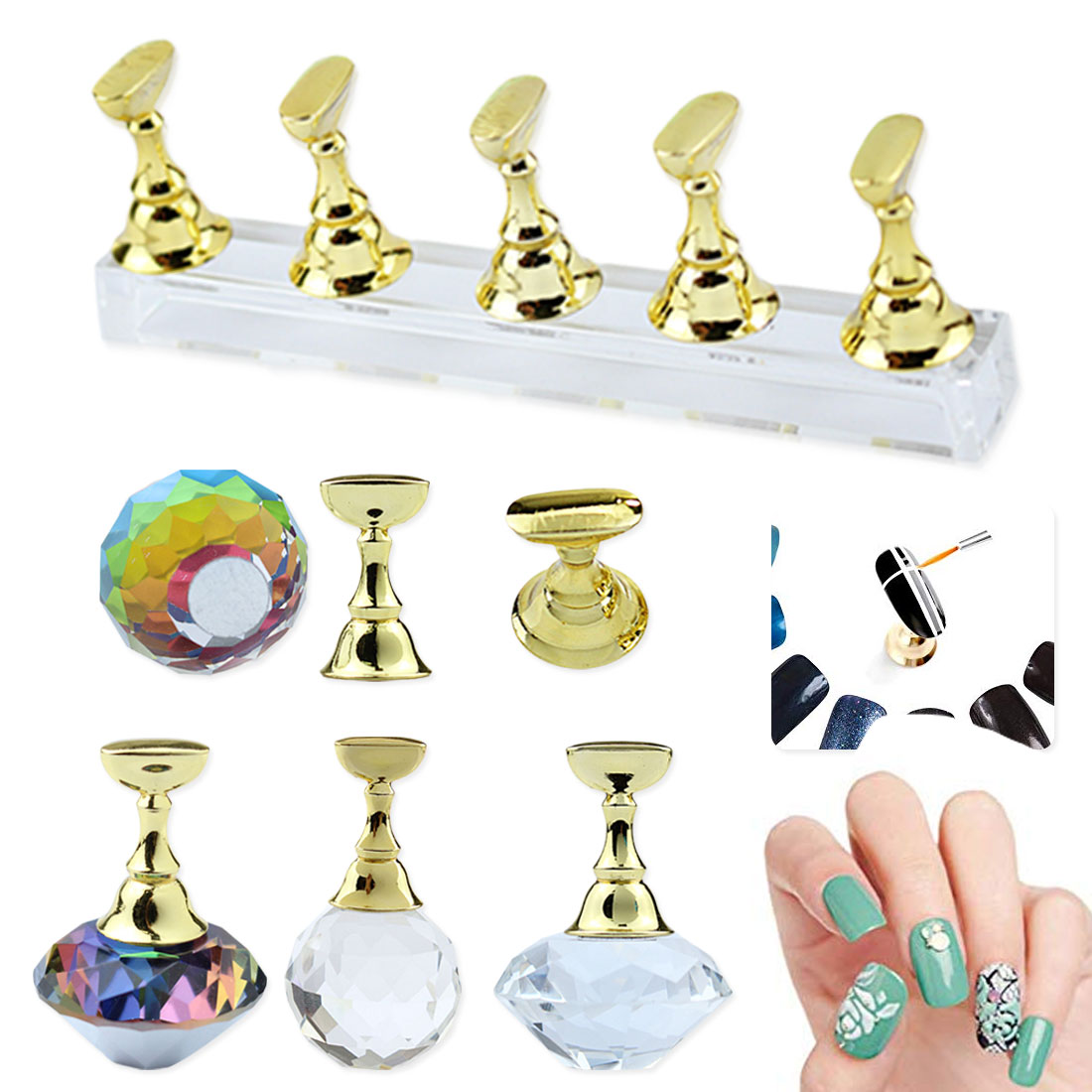1Pcs Magnetic Nail Tips Stand Holders Acrylic Crystal Base Training Practice Stand Display For UV Gel Polish Nail Art Tools