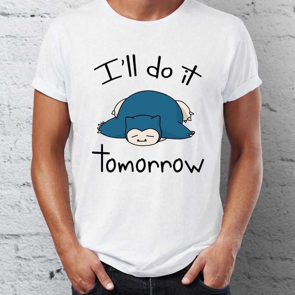 Men's Snorlax I Will Do It Tomorrow Procrastinator Fainted Funny Pokemon Street Guys Tops & Tees Swag 100% Cotton Camiseta