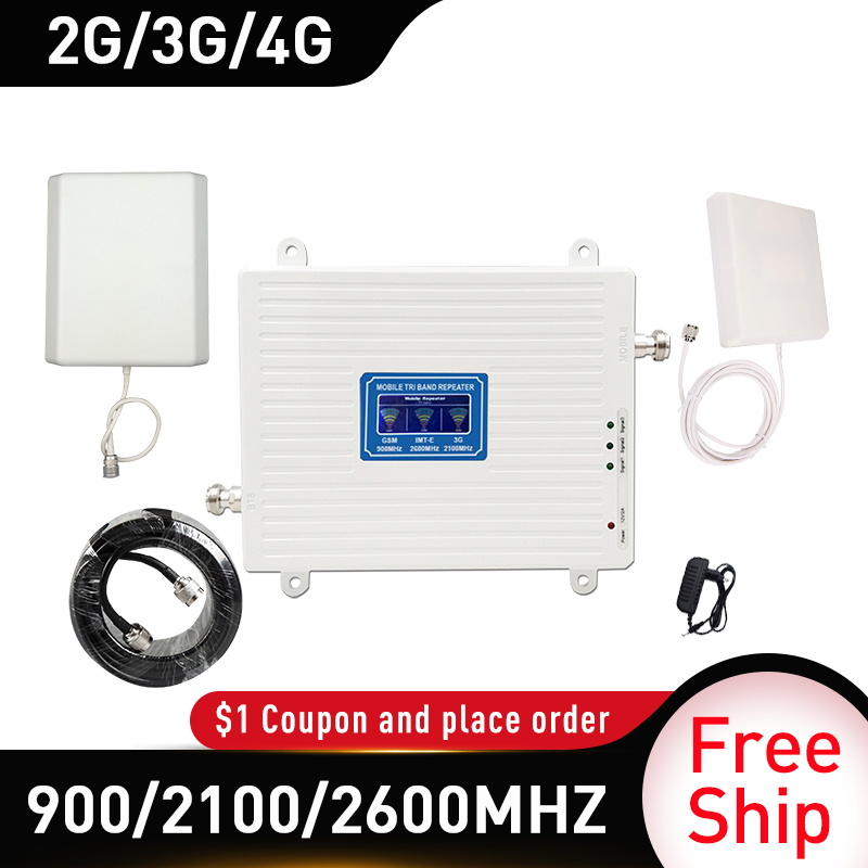 4g Signal Booster 900/2100/2600MHZ GSM UMTS WCDMA FDD LTE 2G 3G 4G Cellular Mobile Signal Booster Amplifier Gain 70db 4G Antenna