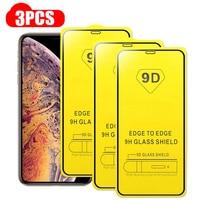 Protector de pantalla de vidrio templado 9D para iPhone, Protector de pantalla completo para iPhone 11, 12, Mini Pro Max, Xs, Max, X, Xr, 7, 8, 6S Plus, SE2020, 3 uds.