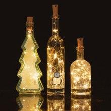 10шт 2метров гирлянды медный провод Коркер атмосферы Сид Фея строка свет освещает бутылку вина на день рождения украшения бар