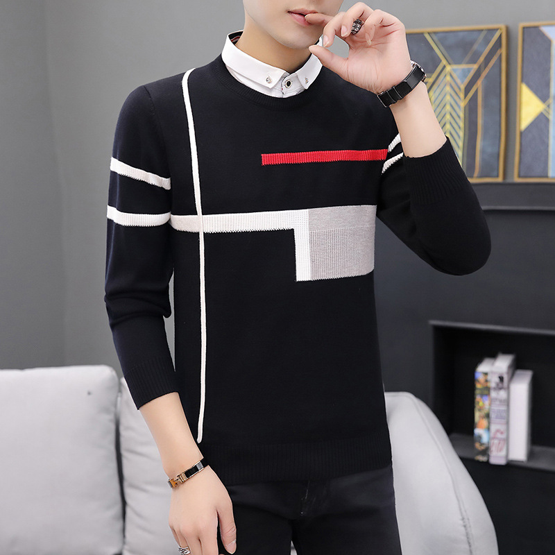 Fake Two Fashionable Casual Sweaters Turn-down Collar Pullovers Casual Men Winter New Long Sleeve Sweater Fall Sweater