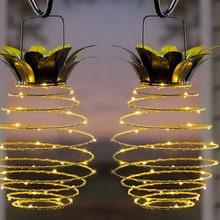 FangNymph-luz Solar impermeable para exteriores, lámpara Solar con forma de piña para jardín, cadena de decoración colgante para Familia, 60 Led, 2 unidades