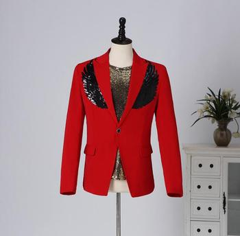 Red sequins wing blazer men groom suit jackets mens wedding suits costume singer star style stage clothing formal dress B233
