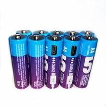10 шт/лот новая перезаряжаемая батарея 15 в aa 1300mwh usb ni