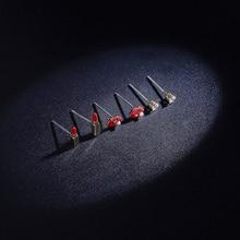 купить 925Silver Needle Lip Lip Lip Lip Lip Asymmetry Earrings Personality Multiple Earrings Set statement earrings  women earrings по цене 523 рублей