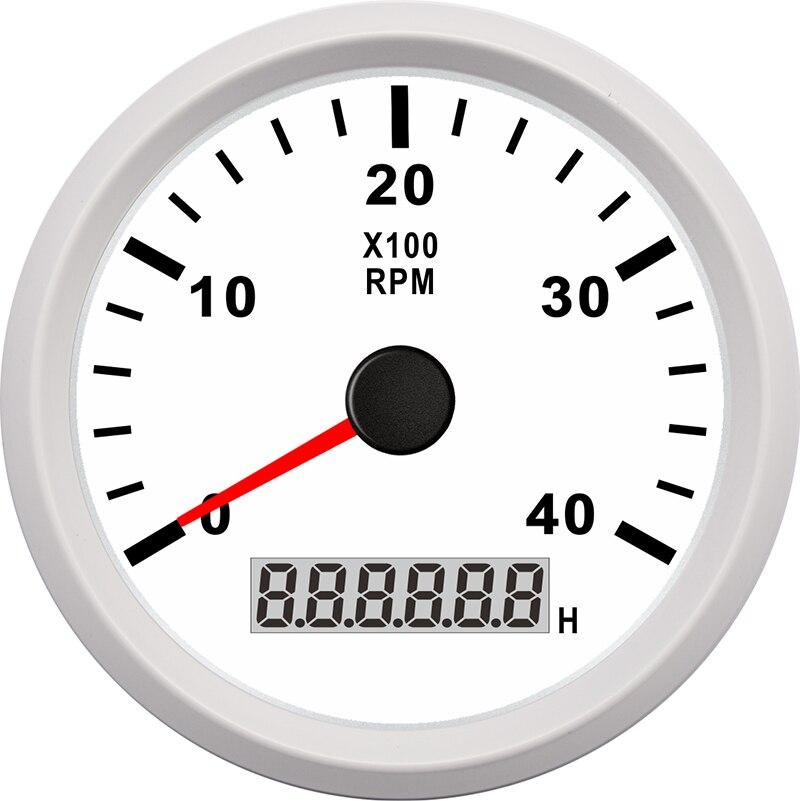 Tachymètre marin 85mm moteur heure mètre 0-4000 tr/min numérique hors-bord camion voiture bateau étanche RPM mètre tacometro auto jauge - 2
