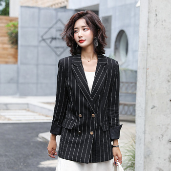 Women's business suit jacket Casual autumn double breasted jacket Temperament long sleeve striped blazer Office top 2019 striped trim raglan sleeve jacket