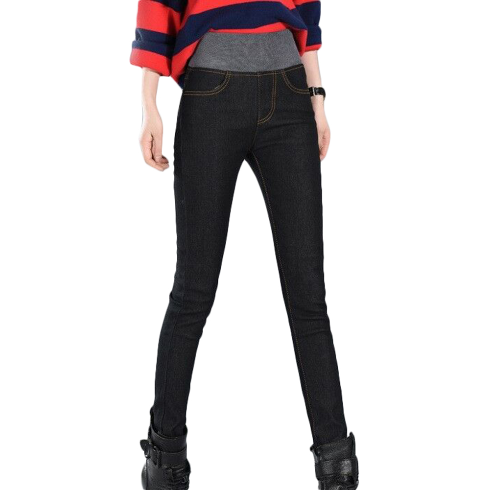Women Winter Thick Thermals Warm Fleece Nap Jeans High Waist Trousers Slim Pants Outdoor TUE88