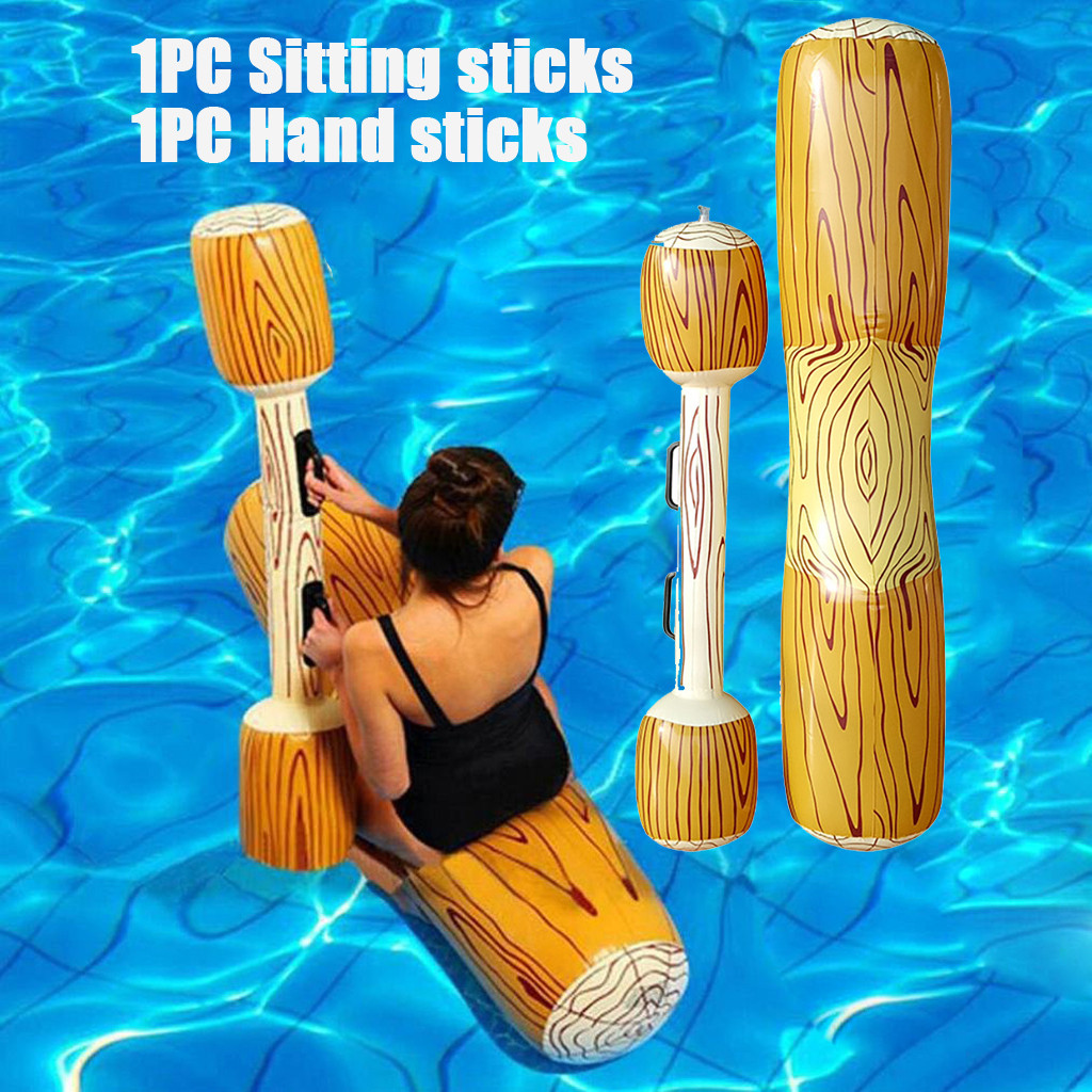 Inflatable Pool Children Toy Summer Outdoor Seaside Beach Water Play Toys Pool Inflatable Double Beat Swim Log Stick Set Adults