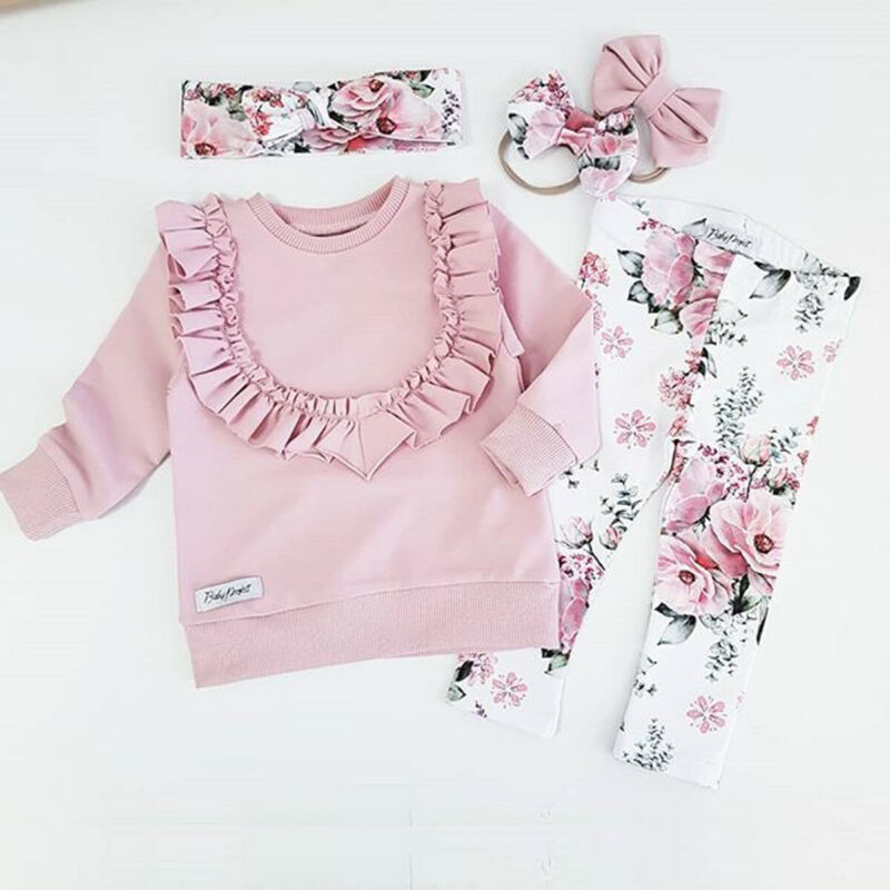 USA Flower Baby Girls Kids Outfits Clothes Long Sleeve Top Ruffle Pants Trousers