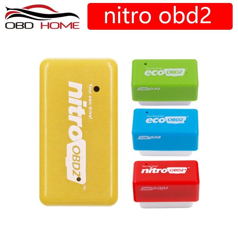 Caja de sintonización de Chip NitroOBD2 para coches, dispositivo de gasolina para coches de bencina, con enchufe y unidad OBD, 35% más de potencia y 25% más de torque
