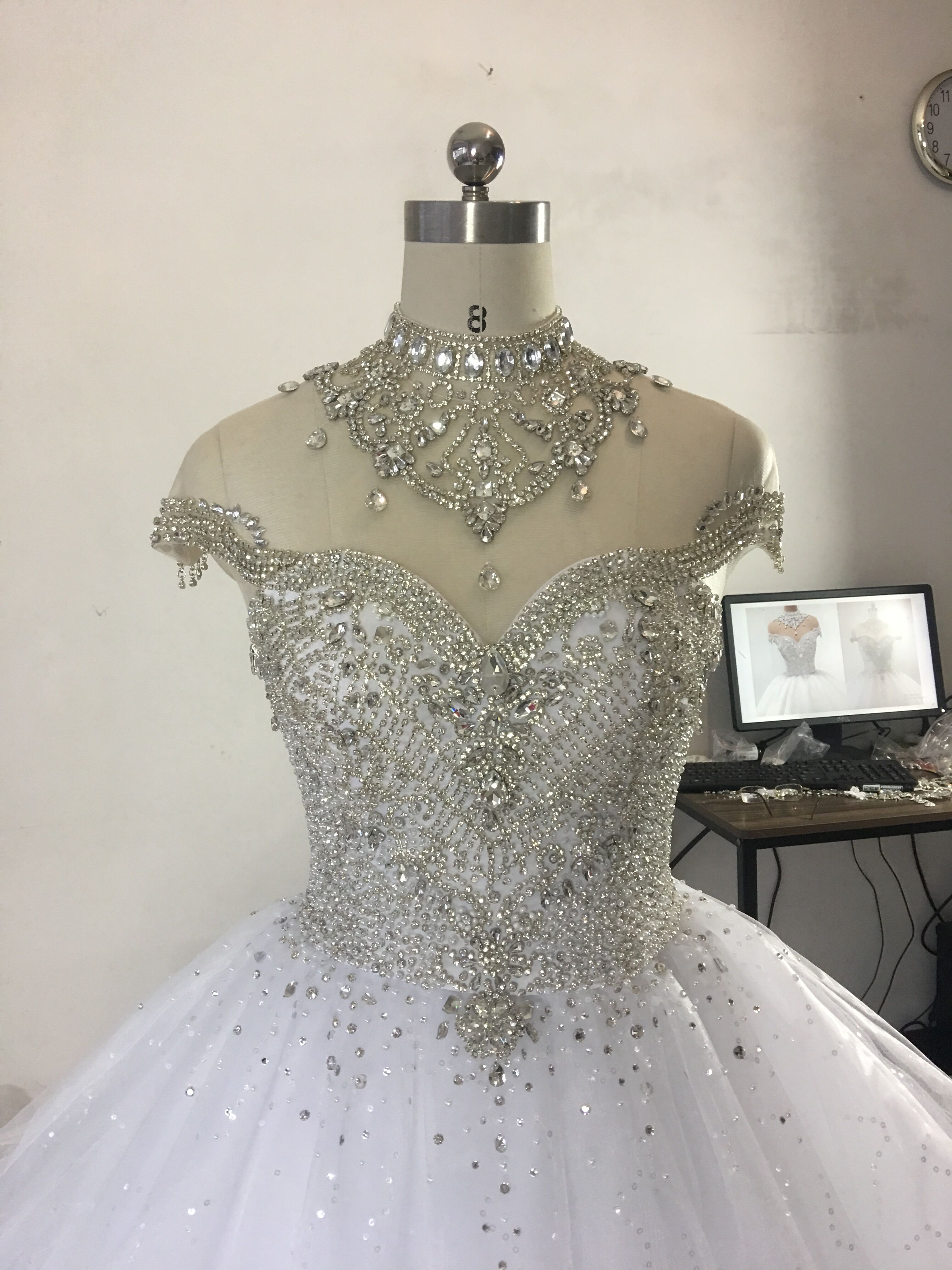 Image 2 - Princess Fluffy Luxury Wedding Dress 2019 Wedding Gowns for Bride Plus Size Tulle Diamond Crystal Beaded Custom Made XJ06S-in Wedding Dresses from Weddings & Events