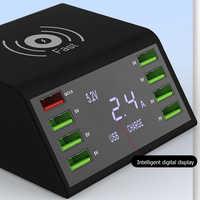 Беспроводное быстрое зарядное устройство с ЖК-дисплеем QC 3,0 быстрая зарядная станция 8 usb портов многофункциональная розетка портативный ум...
