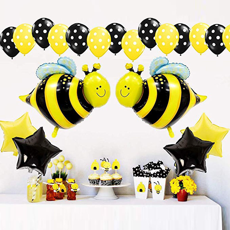 Terrific Happy Bee Day Balloons Bumble Bee Themed Happy Birthday Banner Funny Birthday Cards Online Inifofree Goldxyz