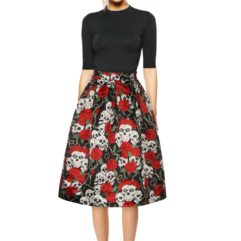 Swing Skirt Women Clothing Casual Retro Moda Halloween High Waist Evening Party Maple Rose Skull Printed Gown Skirts New Arrival