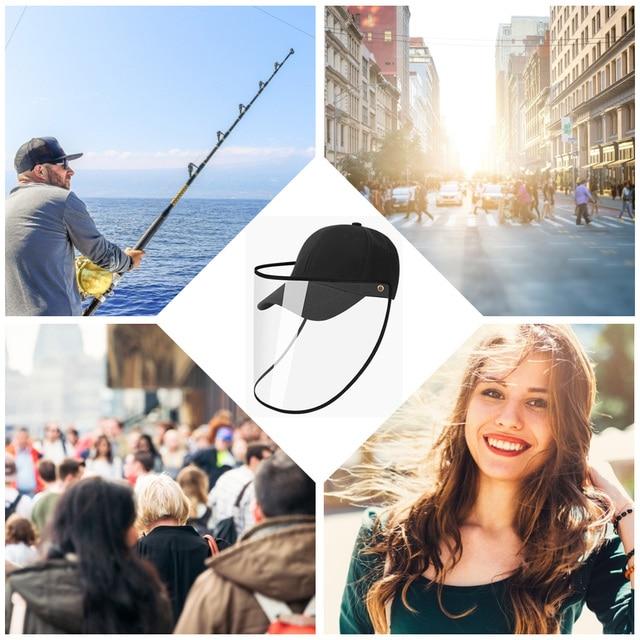 Detachable Transparent Face Shield Full Face Protection Baseball Hat  Visor Anti-saliva Unisex Cap Dropshipping 4