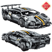 Criação especialista super carro bloco de construção modelo estático moc conjunto cinza bloco de construção do carro brinquedo das crianças adulto presente aniversário